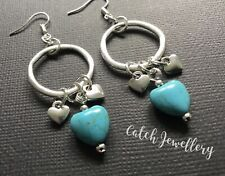 Silver and TURQUOISE LOVE HEART BIG HOOP Circles Earrings Gypsy Boho festival