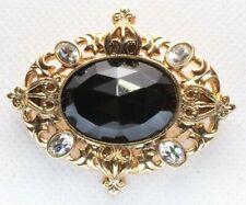Rhinestones Black Acrylic Stone Gold Tone Brooch Pin - Flower Bouquet Swag White