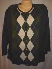 Your Sixth Sense Wool Blend Argyle Cardigan Sweater Sz XXL