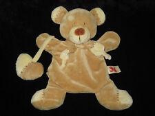 Doudou Marionnette Ours écru beige marron Nicotoy coeur grelot hochet 26 cm
