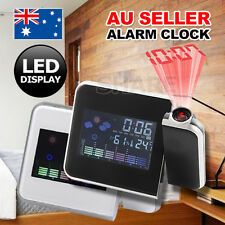 Alarm Clock Digital LCD LED Time Projector Colorful Snooze Weather Temperature