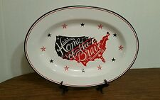 222 Fifth Home of the Brave Red White Blue Porcelain Oval Serving Platter New
