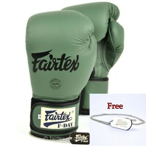MMA New Fairtex Limited Ed BGV11 F Day Military Green Muay Thai Boxing Gloves