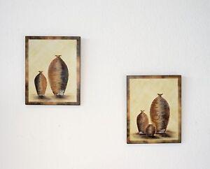 Bilder 2er Set Kunst Kunstdruck Wandbild Wohnzimmer Gilde Handwerk Vase Deko B33