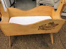 Vintage Baby Newborn Rocking Cradle Handmade In 1967 With Mattress - Wooden