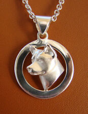 Small Sterling Silver Akita Head Study On A Circle Frame Pendant
