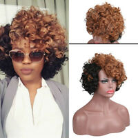 Women Short Afro Bob Wigs Curly Wavy Black Yellow Cosplay Wig Synthetic Hair Wig