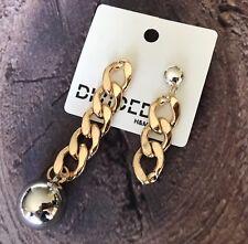 H&M Earrings Chainlink Drop Dangle Gold & Silver Tone Slidebacks NWT