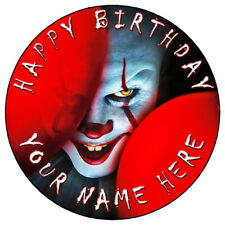"IT PENNYWISE HALLOWEEN - 7.5"" PERSONALISED ROUND EDIBLE ICING CAKE TOPPER (3)"