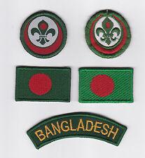 SCOUTS OF BANGLADESH - SCOUT MEMBERSHIP RANK AWARD, FLAG & STRIP PATCH SET OF 5