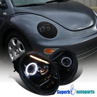 For 1998-2005 Beetle Smoke Halo Projector Headlights Lamps Glossy Black Pair