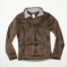 The North Face Womens Fleece Jacket M Solid Brown 1/4 Zip Marsupial Pocket