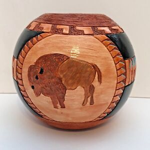 Handmade Ceramic Etched Round Ball Buffalo Black Pottery By Gina Arrighetti