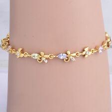 Vintage 18k gold filled Multicolor CZ butterfly chain bracelet For Women Girl
