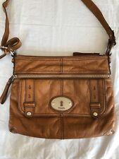 Women's Fossil Brown Leather Mason Top Zip Satchel Cross body Bag