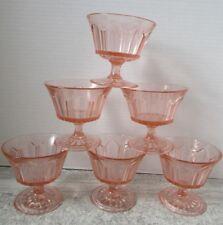 Old Set of 6 Pink Depression Glass Footed Stem Sherbets Panelled