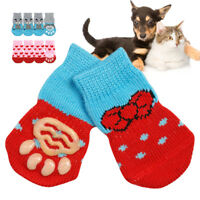 4pcs/pack Pet Puppy Dog Socks Cotton Non-Slip Knitted Warm Sock Dog Boots Shoes