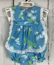 Kala Hawaaii Pinafore Baby Dress Bloomers Hawaaiian Print 12M Nwot