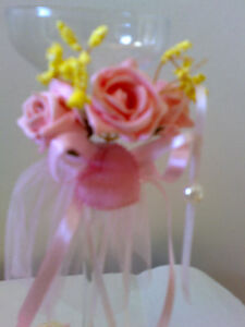 Taper Tealight Champagne glass candle holder decor pink floral rose ribbon heart