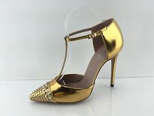 Gucci Women's Metallic Gold Leather Heels 37