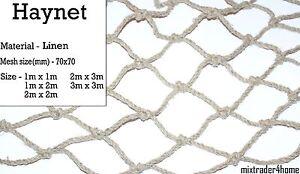 Haynet Netting Linen Net  5mm Cord Natural Feeder Horse Pony Field Yard Stable
