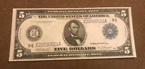 1914 federal reserve note $5 , Richmond    district,  AU , almost uncirculated