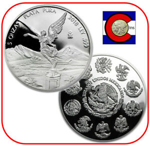 2018 Mexico Libertad 5 oz PROOF Mexican Silver Coin in direct fit capsule