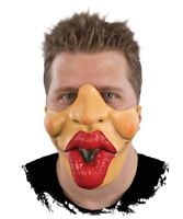 Deluxe PUCKER UP MOUTH HALF FACE MASK Funny Big Lips Kiss Clown Latex Rubber Gag