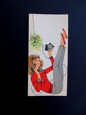 Vintage Unused Xmas Greeting Card Mid Century Pretty Lady Talking on the Phone