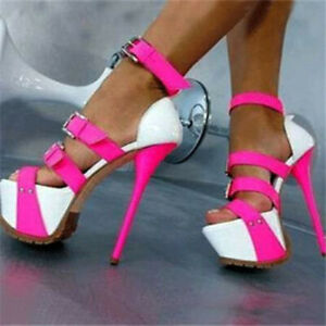 Women Platform Peep Toe High Heels Sandals Fashion Stilettos Shoes Plus Size 2-9