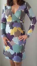 Boden Langarm Stretch Viskose-Jersey-Kleid Lila-Grün-Mix Farbkleckse Gr 38 UK12R