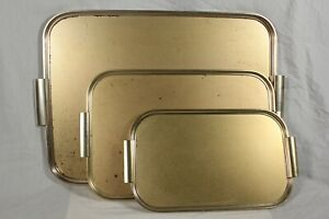 Vintage Mid Century Gold Brass Effect Lap Tray Set of 3 Serving Cocktail Bar