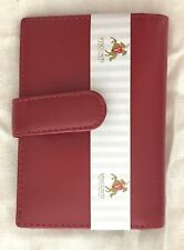 BN Visconti 'Polo' Red Leather Credit Card Wallet With Popper Closure