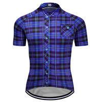 New Mens Short Sleeve Cycling Jerseys Team Jersey Plaid Shirt Navy Blue Color