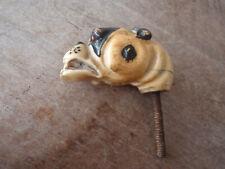 New ListingAntique, Carved Bone ? Bulldog Dog Cane Walking Stick Top Topper