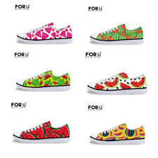 Watermelon Womens Low Top Canvas Ox Sneakers Walking Pumps Tennis Shoes Flats
