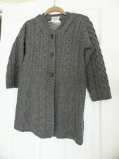 NWT Kilronan Knitwear Sweater XS Gray 100% Merino Wool Aran Cable Knit Cardigan
