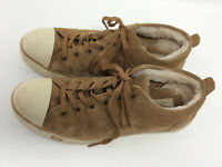 UGG Evera 1888 Classic Suede Leather Sherpa Lined Sneakers Shoes 12 Beige
