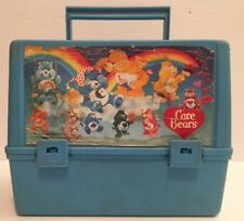 Vintage 1980's CARE BEARS Blue Thermos Canada Plastic Lunch Box RARE