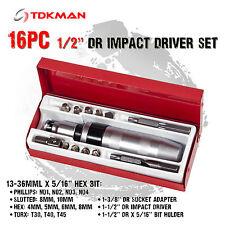 "16PC 1/2"" Dr Impact Screw Driver Socket Set Hex Trox Star Phillips Bits PH 1 2 3"