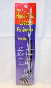 Package of 5 Brads Sturgeon 6/0 Barbless Hooks Hand Tied Dacron Leaders