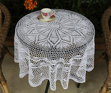 Hand Crochet Lace Cotton Doily Topper Tablecloth Table Cloth Round 130CM White
