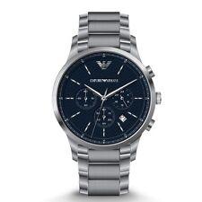 d7a4ebe5c48 Clássico Emporio Armani AR2486 Mostrador Azul Aço Inoxidável Quartz Relógio  Masc.