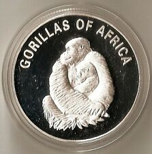 UGANDA 1000 SHILLINGS 2003 ANIMAL GORILLA WITH BABY - BIG HEAVY PROOF COIN