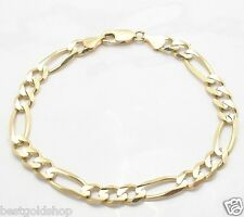 14K Yellow Gold 13.5gr Great Gift 7mm Solid Mens Figaro Chain Bracelet Real