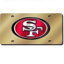 San Francisco 49ers Gold Mirrored Laser Cut License Plate Laser Tag