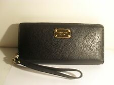 NEW Michael Kors Black Leather MK Gold Jet Set Zip Around Travel Wallet Wristlet