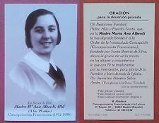 Santino Holy Card: Serva di Dio Madre Maria Ana Alberdi