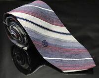 Giorgio Sant Angelo Vintage Silk Gray Pink Red White Blue Striped Mens Neck Tie