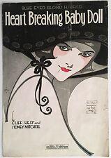 "1919 ""BLUE EYED BLOND HAIRED HEART BREAKING BABY DOLL"" ART COVER SHEET MUSIC"